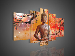 Wholesale Handmade Paint Canvas Buddha - Framed 5 Panel 100% Handmade Huge Buddha Oil Painting on Canvas 5 Piece Wall Art Cherry Blossom Feng Shui Picture--XD01304