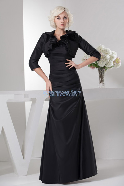 free shipping 2018 new design hot high neck long sleeve brides maid dress with jacket custom black Mother of the Bride Dresses