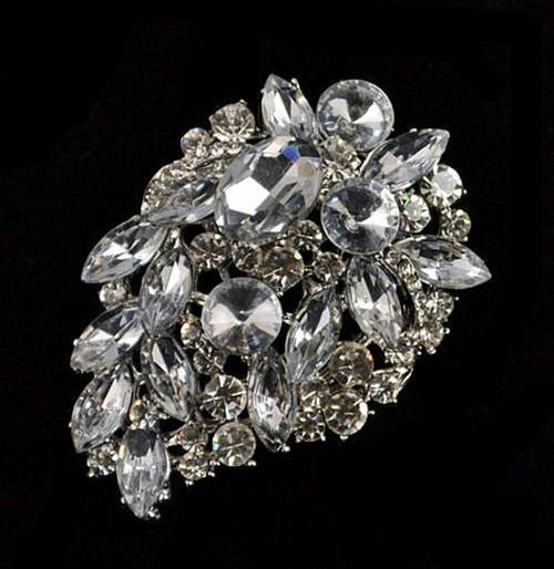2.5 Inch Rhodium Silver Plated Clear Gemstone and Rhinestone Crystal Large Bridal Bouquet Accessory Pin Brooch