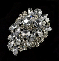 Wholesale Large Clear Rhinestone Brooch Pin - 2.5 Inch Rhodium Silver Plated Clear Gemstone and Rhinestone Crystal Large Bridal Bouquet Accessory Pin Brooch