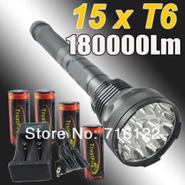 Wholesale Trustfire Cree Battery - THE NEWEST TRAVEL LIFE 18000 Lumen 15x CREE XM-L T6 LED Flashlight Torch Light Lamp + Trustfire 4*26650 battery + TR-006 Char