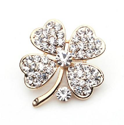 Gold Plated Clear Rhinestone Crystal Clover Leaf Pin Brooch