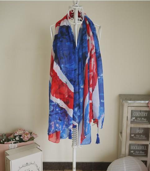 White /& Blue Union Jack Silky Feel Fashion Scarf 2 Ladies Red