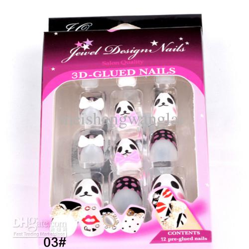Nagelspitzen Neue 2013 Full Cover Acryl Falsche Nägel 12 Boxs French Maniküre Acryl Nägel Liefert 3D Falsche Nägel Pre Design Nagelspitzen