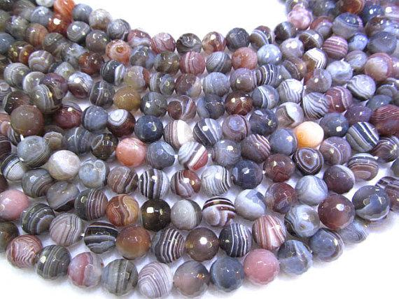 high quality bulk 6mm agate gemstone round ball faceted grey gray botswanta ssortment jewelry beads 5strands 16inch/per strand