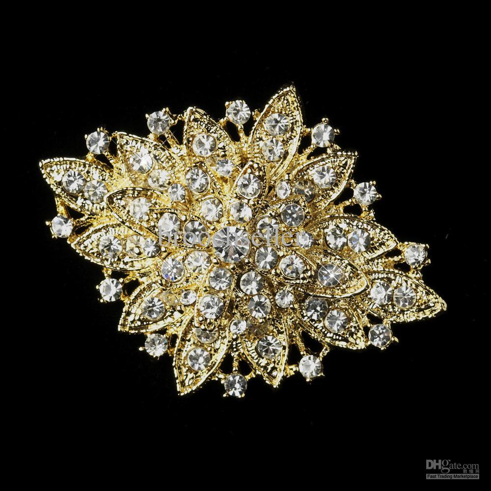 Gold plattiert große elegante Gold Sparkly Strass Kristall Braut Pin Brosche