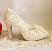 Wholesale White Sandal Heels Flowers - NEW Wedding shoes Bridal shoes women's White pearl lace flowers High heels Shoes Bridal Shoes sandals HW38