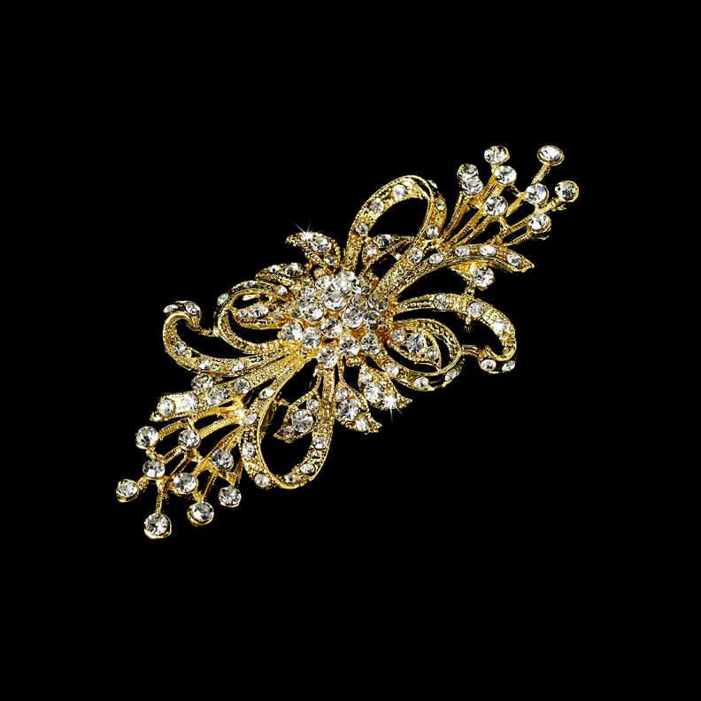 Elegante chapado en oro transparente Rhinestone Crystal Flower broche Pin Bouquet