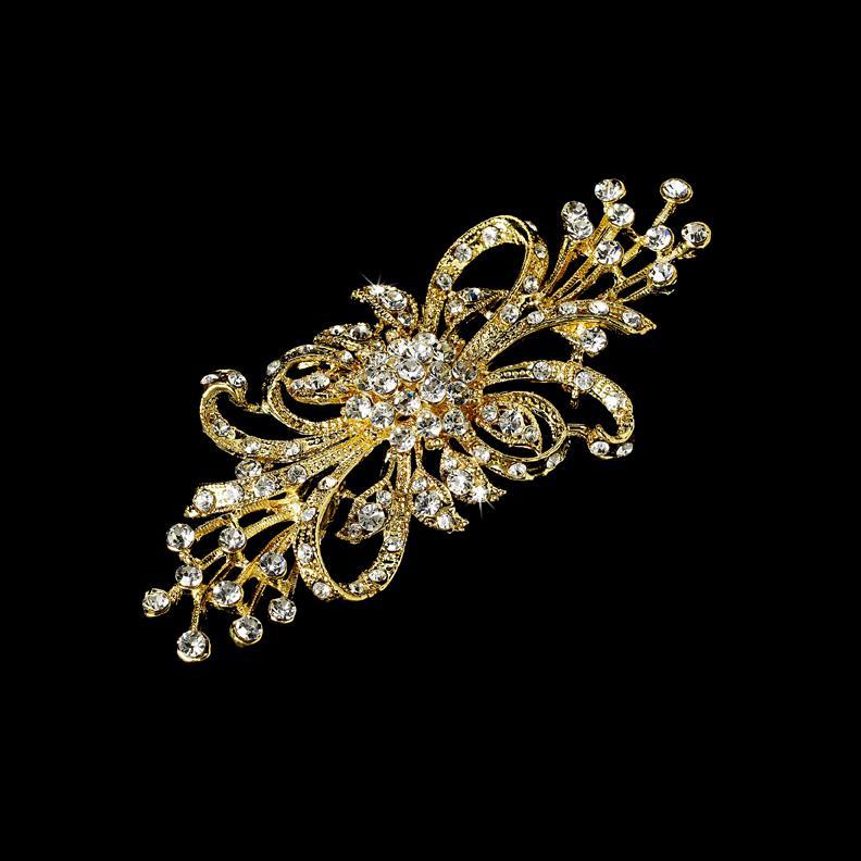 Elegante Gold Plated Clear Strass Kristall Blume Brosche Pin Bouquet