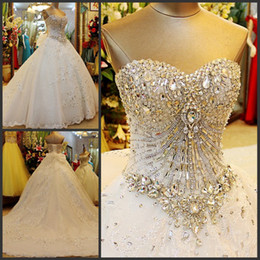 Wholesale Small Satin Bows - Strapless Lace Sequins Crystal Stones Major Beading Lace Up Luxury Wedding Dresses Small Tail Custom Made ZQ4