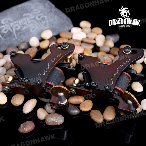 Top Quality Tattoo Machine Liner & Shader Tattoo Guns Steel Frame Copper Coils Compass Tattoo Machines DHL Fast Shipping