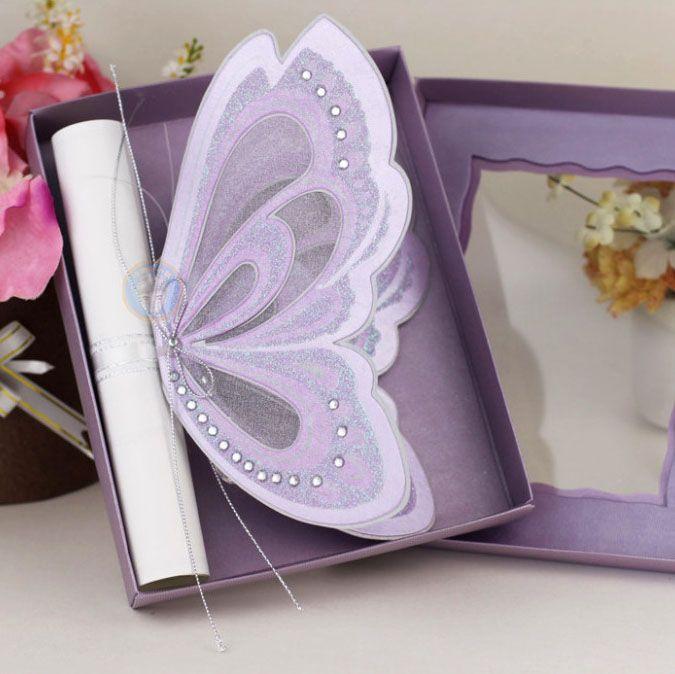 Sample-Elegant cut Pearl Black Shimmer Butterfly Wedding Invitation cards