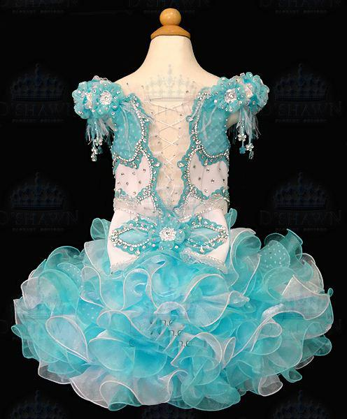 New arrival blue Organza Above knee/Mini Ball gown Dress V-neck Beading crystals Short Girl's Pageant Dresses Flower gril