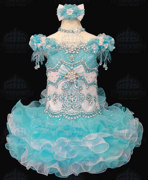 Freies Verschiffen neue Ankunft blaue Organza über Knie / Mini Ballkleid Kleid mit V-Ausschnitt, das Kristalle bördelt Kurzes Mädchen Festzug-Kleider Blumen gril