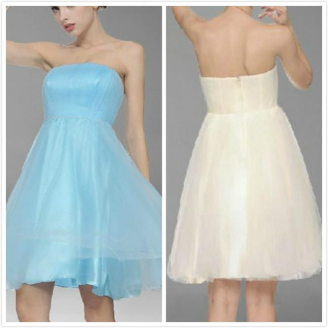 Lady Simple Styles New Cheap Elegant Special Strapless Knee Length Bridesmaid Dresses /Wedding Party Dresses