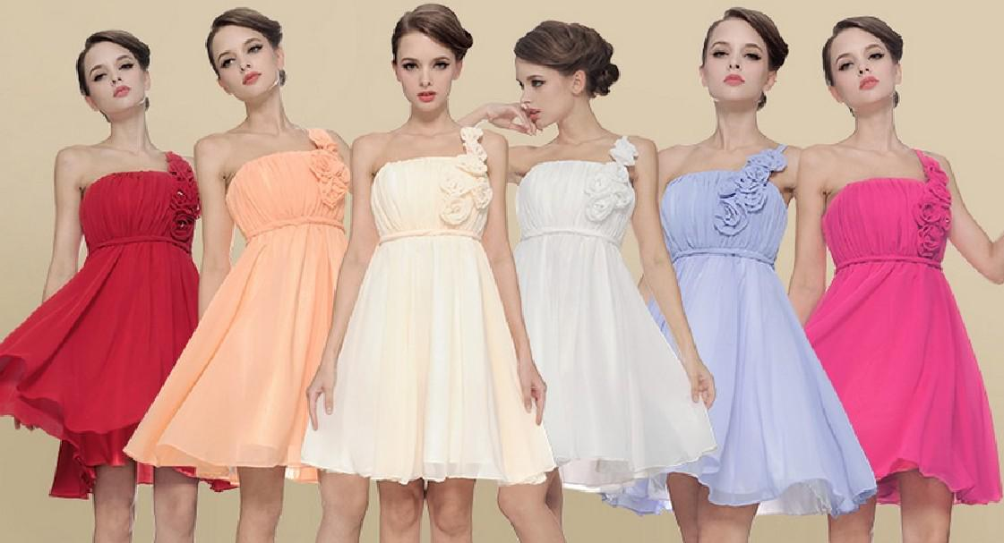 Sexy One-shoulder A-line Chiffon Mini Bridesmaid Dresses Short Hand-made Flower Party Gown