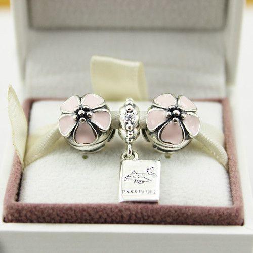 925 Sterling Silber Rosa Emaille Kirschblüte Clip Charms und Abenteuer erwartet baumeln Charm Set passt europäischen Pandora Bettelarmband