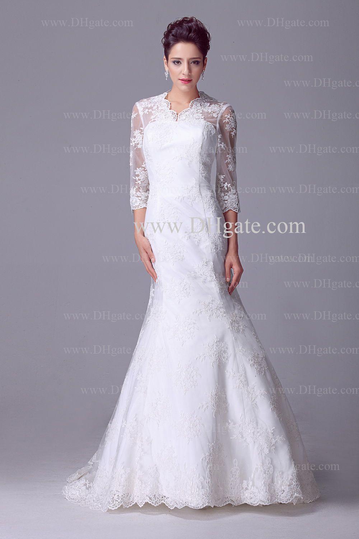 White sexy v neck 3/4 long sleeves full lace bridal gonws floor legnth mermaid wedding dresses DH4467