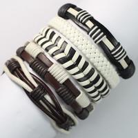 Wholesale Ethnic Braided Bracelet - FL6-New free shipping (5pcs lot) ethnic bracelets bangles handmade genuine braided wrap rope leather bracelet for gift