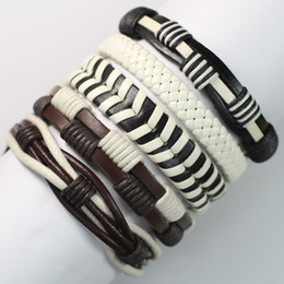 Wholesale Free Handmade Christmas Gifts - FL6-New free shipping (5pcs lot) ethnic bracelets bangles handmade genuine braided wrap rope leather bracelet for gift