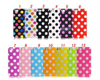 Wholesale Iphone 5c Polka Dot Cover - Polka Dots Wave point Multi colors TPU back protective cover case for iphone 5C iphone5C free shipping