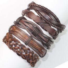 Wholesale Mens Leather Bracelets Brown - FL9- Brown pulseras cuero bracelets bangles (5pcs lot) charms ethnichandmade genuine braided wrap rope hemp mens leather bracelet for gift