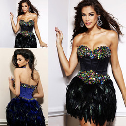 Wholesale Rhinestone Cocktail Dress Sheer Sheath - Free shipping!High quality couture black royal blue sweetheart feather peplum rhinestone short mini cocktail dress ZCD-084