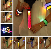 Wholesale Led Flashing Armband - 10pcs Outdoor Sports Safety LED Flashing Arm band Wrist Strap Armband for Climbing Cycling Free Shipping