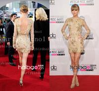 Wholesale Long Black Tank Top Dress - 2014 Earlybirdno1 New Sexy Taylor Swift Zuhair Murad Sheath Tank Top Gold Lace Beads Long Sleeves Backless Prom Celebrity Dresses BO2343