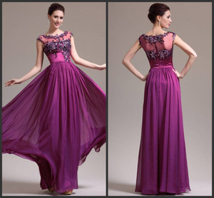 Wholesale New Arrival Attractive illusion high collar Cap sleeve beaded Floor Length Chiffon Mother of the Bride Dresses Formal Wear
