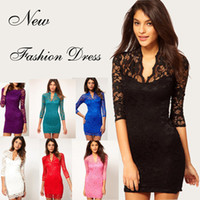 Wholesale Cocktail Dresses For Casual Party - Sexy Women Fashion Floral Lace Bodycon Dress Celebrity Jacquard Lace for Party Cocktail Cowl Wave V-Neck Slim Soft Mini Dress Gorgeous 6121