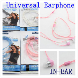 Wholesale Earphone Bag Plug - 3.5mm plug crystal line in-ear earphone for iphone for samsung universal mp3 mobile phone headset colorful with retail bag 20PCS
