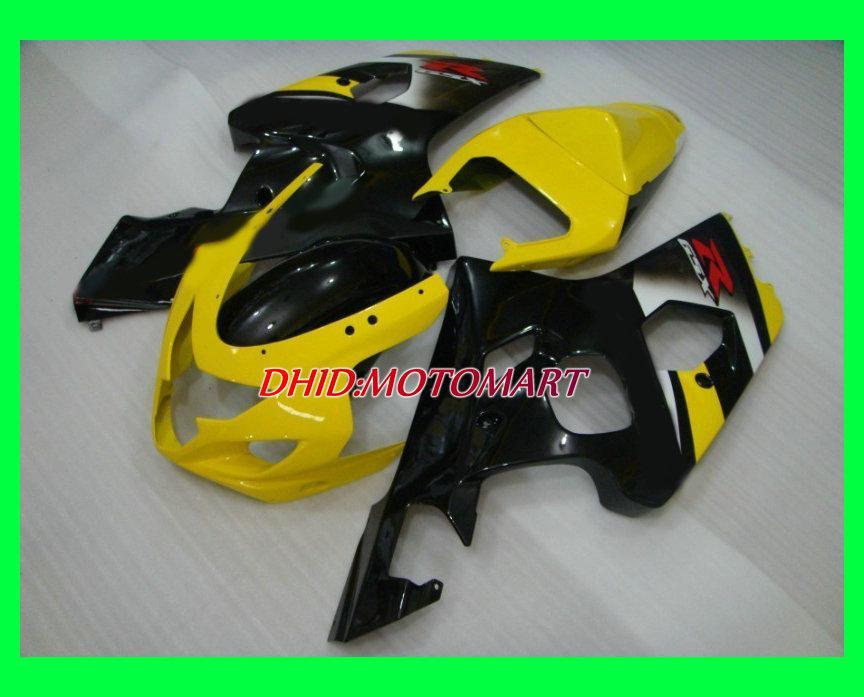 Kits de carenado para SUZUKI GSXR600 750 K4 04 05 2004 2005 GSXR 600 GSXR 750 Amarillo brillo blk Kit de carenados +7 regalos SZ28