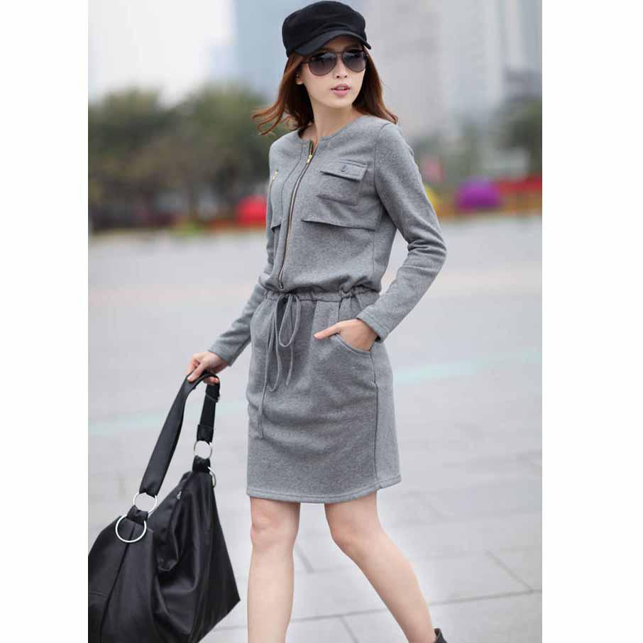 New Autumn Dress Fashion Women Dress Long Sleeve Midi Dress Zipper ...