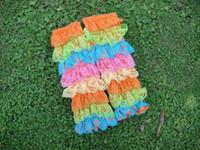 девушки носят кружевные носки оптовых-Детские девушки кружевные гетры Кружева Петти оборками грелки для ног Детские носки Рождество милые детские носки лодыжки детские гетры 7 цветов