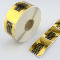 Wholesale Gold Stickers For Nails - Professional Square Gold Nail Form for Acrylic   UV Gel Nail Extensions Stickers Forms Nail Art Tool T301