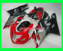 carenado gsxr rojo negro plata Rebajas Kit de carenado de motocicleta para SUZUKI GSXR600 750 K4 04 05 GSXR 600 GSXR 750 2004 2005 Rojo Plata negro Carenados conjunto SF42