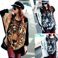 Wholesale Loose T Shirts For Girls - Hot Girl Women Fashion Batwing-sleeved Blouse Tops T-Shirt Tiger Head Logo Print Short Sleeve Cool Loose Tops for Women Lady girl 2 colors