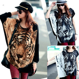 Wholesale Girls Batwing Tops - Hot Girl Women Fashion Batwing-sleeved Blouse Tops T-Shirt Tiger Head Logo Print Short Sleeve Cool Loose Tops for Women Lady girl 2 colors