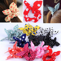Wholesale Rabbit Hair Bracelet - Fashion Women Girl Sweet Rabbit Ear Hair Bands Tie Accessories Japan Korean Ponytail Holder Bracelet Hair Accessories [HPX40(10)*5]