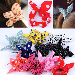 Wholesale Fabric Ponytail Holders - Fashion Women Girl Sweet Rabbit Ear Hair Bands Tie Accessories Japan Korean Ponytail Holder Bracelet Hair Accessories [HPX40(10)*5]