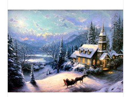 Wholesale Evening Drew - Pure Handmade!Thomas kinkade Landscape painting repro-Sunday Even (no Frameless draw)