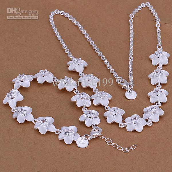 Großhandel - niedrigster Preis Weihnachtsgeschenk 925 Sterling Silber Fashion Halskette + Ohrringe Set QS078