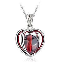 Wholesale Opal Sterling - Fire Opal Pendant High Quality Natural Stone 925 Sterling Silver Necklace Love Heart Garnet Pendant Bohemian Women Stone Jewelry Ladies Girl