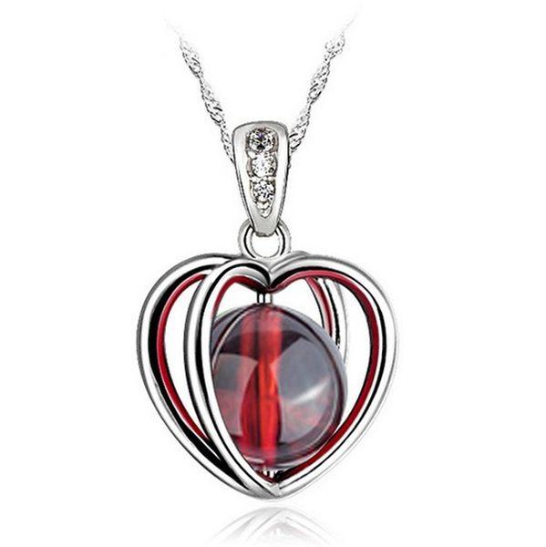 Yangın Opal Kolye Yüksek Kalite Doğal Taş 925 Ayar Gümüş Kolye Aşk Kalp Garnet Kolye Bohemian Kadınlar Taş Takı Bayanlar Kız