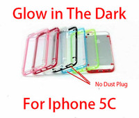 Wholesale Iphone C Tpu Bumper - for iphone 5C 5 C Dual Color Soft TPU Silicone Bumper Frame Fluorescent Glow in Dark Clear Transparent Back Cover Case Skin Shell Dust proof