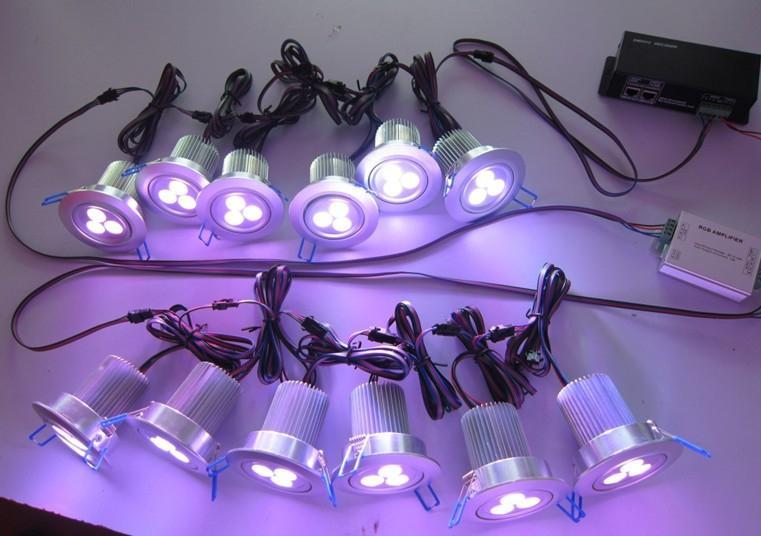 Pekskärm Trådlös fjärrkontroll 4 Ledningar RGB DMX 12x3W LED Takljus DC 24V Används för villor och herrgårdar