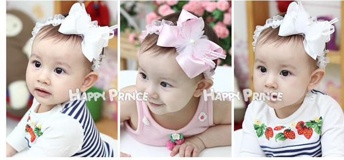 Baby Headbands Girl Lace Frilly Chiffon Flower For hairbands Children Hair Accessories Bowknot Flower Hair Bow Headbands Pearl On Center