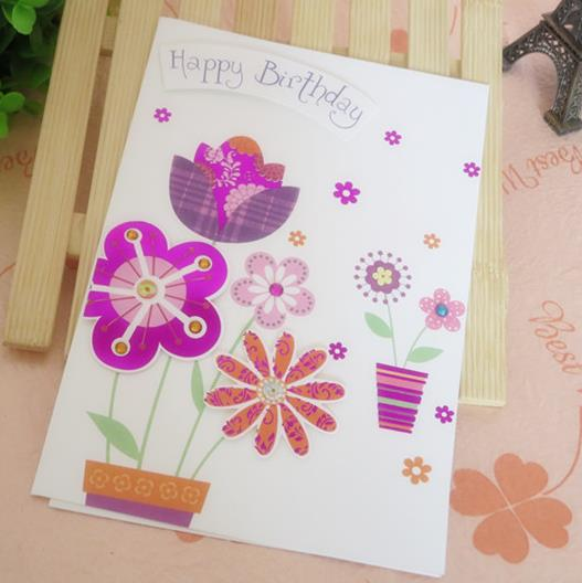 Flower Birthday Greeting Card Adorned With 3d Sticker 8 Patterns – Size of Birthday Card
