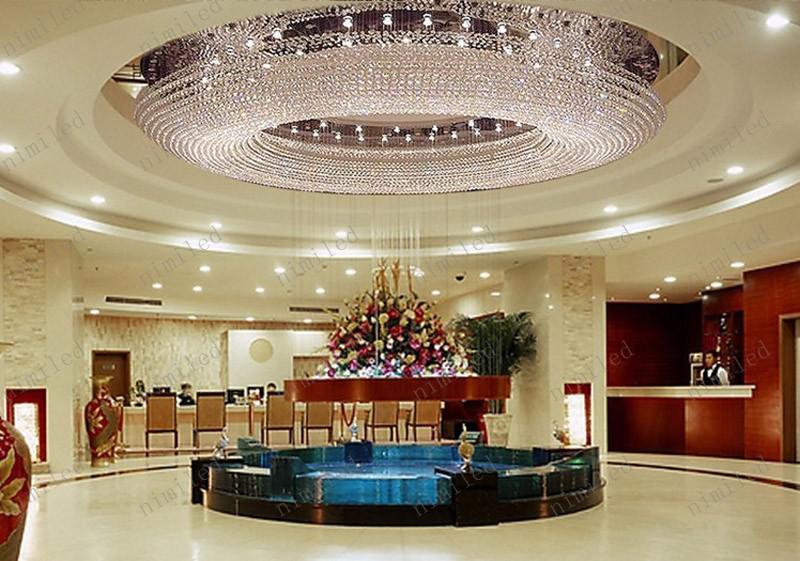 nimi122 Villa de lujo Ático Living Room K9 Lámpara de cristal Hotel Proyecto de renovación Gran lámpara de cristal Lobby Colgante Droplight